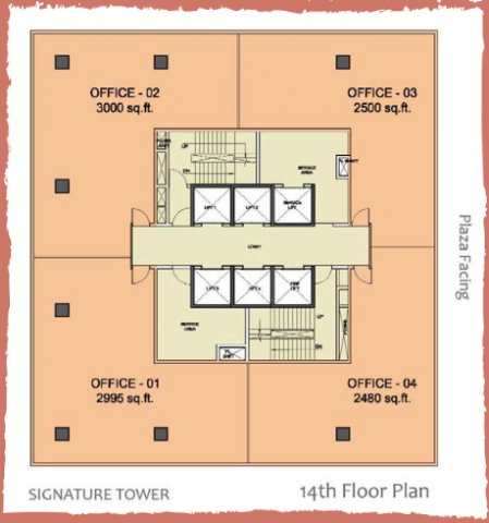 WTC-Chandigarh-Office Space 14th floor layout plan