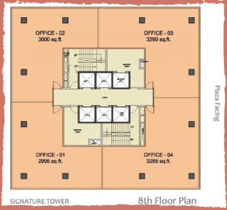 WTC-Chandigarh-Office Space 8th floor layout plan