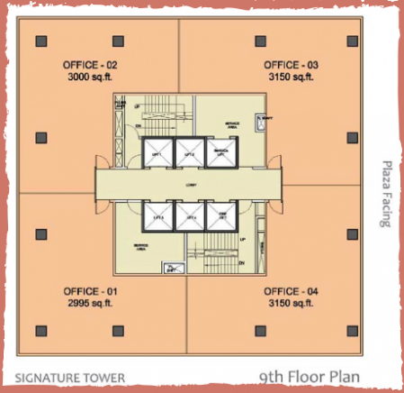WTC-Chandigarh-Office Space 9th floor layout plan