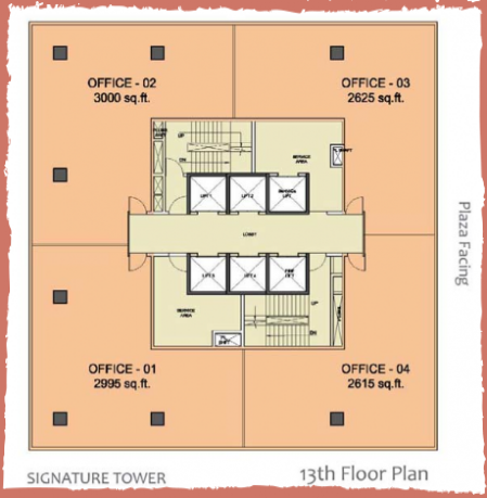 WTC-Chandigarh-Office Space 13th floor layout plan